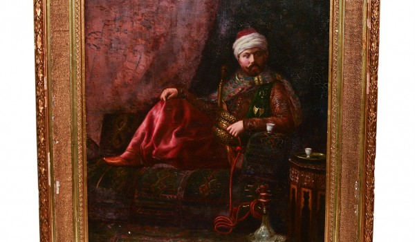 Oil Painting Gentleman Smoking Turkish pipe'