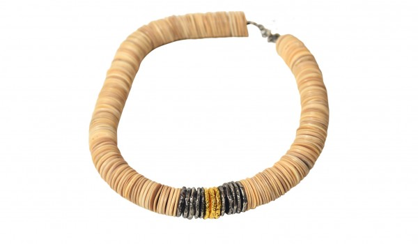 Gold, Silver and Fishbone Necklace
